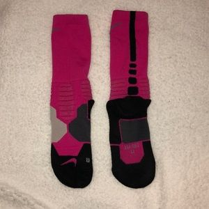 Pink breast cancer Nike Hyper Elite socks